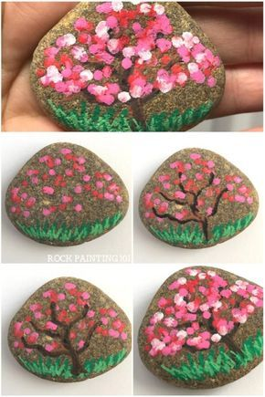 apple blossom trees dot painting on rocks taşlar el yapımı ve keçe