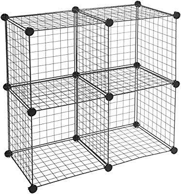 Amazon Com Amazonbasics 4 Cube Wire Storage Shelves Black Home Kitchen Wire Storage Shelves Cube Storage Shelves Wire Storage