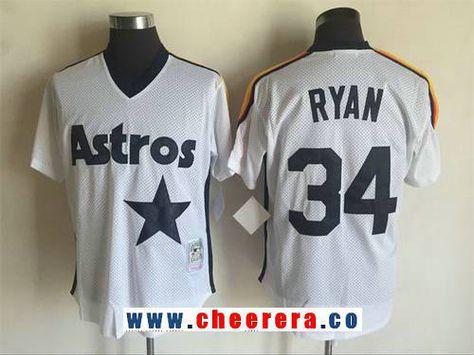 c34f6cbfd8c Men s Houston Astros  34 Nolan Ryan White Mesh Batting Practice 1988  Throwback Jersey By Mitchell   Ness