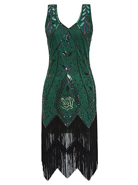 1920s Sequined Fringe Dress Retro Stage Chic Vintage Dresses And Accessories Great Gatsby Party Dress Gatsby Party Dress Retro Swing Dresses