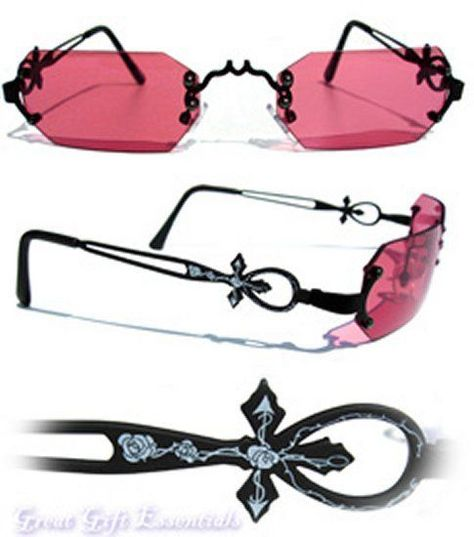 10439a3c60 Gothic Vampire Glasses Black Red Rose Costume Sunglasses Dracula Goth  Steampunk