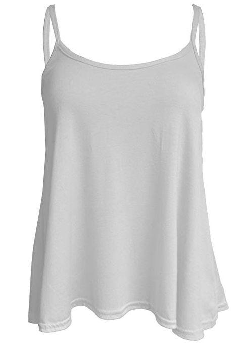 Womens Ladies Stretch Cotton Plain Camisole Vest Sleeveless Strappy Tshirt Top