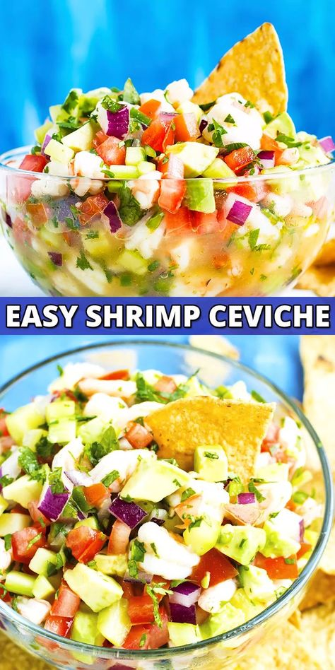 Mexican Shrimp Ceviche with Avocado does not use any raw fish and is a healthy and easy low-carb, keto, and Whole30 summer appetizer or dinner recipe!  Serve this ceviche recipe with tortilla chips, on top of your favorite chicken dish, or eat it by the spoonful for a quick shrimp meal idea to bring to a potluck, picnic, or camping! #lowcarb #keto #shrimp #recipe #whole30 #ceviche