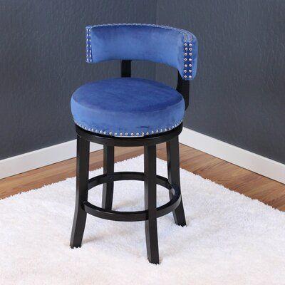 Everly Quinn Tomoe 25 Swivel Bar Stool Upholstery Sky Blue Bar Stools Swivel Bar Stools Floor Seating