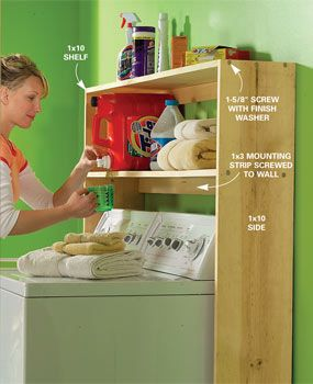 Laundry supply shelf.    Make laundry day easier with this shelf for all your detergents, stain removers and other supplies. Build this simple organizer from 1x10 and 1x3 boards. If you have a basement laundry room, you may need to cut an access through the shelves for your dryer exhaust.
