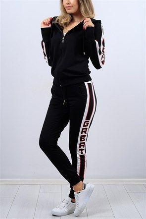 Yazi Baskili Siyah Bayan Esofman Takimi 9345b Tesettur Mayo Sort Modelle Tesettur Mayo Sort Modelleri 2020 Sportif Kiyafetler Giyim Moda Stilleri