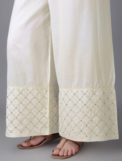 Buy Ivory Elasticated Tie up Waist Cotton Applique Chikankari Palazzos with Mukaish Women A Canvas Chikan embroidered chanderi kurta fabric dupattas and Online at Jaypore.com