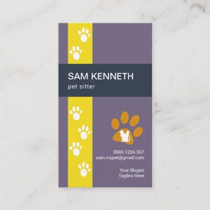 Simple Walking Paw Print Tracks Pet Sitter Business Card Pet Sitter Business Pet Sitters Paw Print