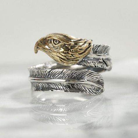 Sterling Silver Mens Unisex Fishing Eagle Talons Extended Ring
