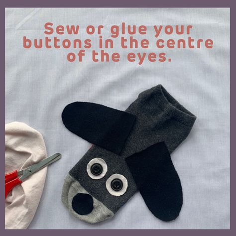 Sew or glue your buttons in the centre of the eyes.
