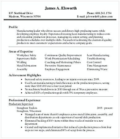 Production Supervisor Resume Production Manager Resume Format  Product Manager Resume  Are