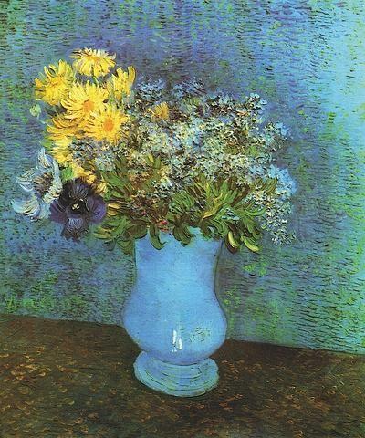 Vase With Lilacs Daisies And Anemone Van Gogh Flowers Vincent Van Gogh Art Van Gogh Paintings