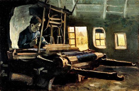 Vincent van Gogh (30 Marzo 1853 – 29 Luglio 1890) si recò a Courrières nel 1880 per conoscere il pittore Jules Breton. Nel villaggio francese vide numerosi tessitori e fu colpito dal rapporto tra le grandi macchine e gli uomini al lavoro. Da queste osservazioni sarebbe derivata, a distanza di molti anni, una lunga serie di disegni e dipinti. Nella foto il dipinto «Tessitore al telaio» (1884), olio su tela. http://www.facebook.com/mostrartigianato