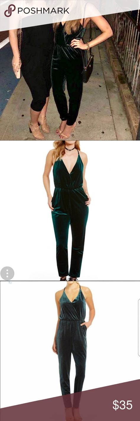 8ff12623bc7 Gianni Bini emerald green velvet jumpsuit Gianni Bini brand Emerald green  color Fitted jumpsuit Keyhole back