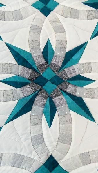 Teal And Gray Star Wedding Ring Quilt Size King 113 X 114 The Border Is Scalloped This Qui Wedding Ring Quilt Double Wedding Ring Quilt Buy Wedding Rings