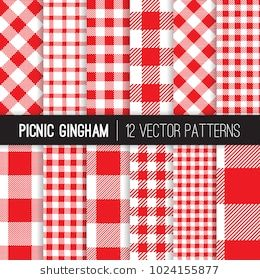Red And White Picnic Tablecloth Style Gingham And Checks Vector