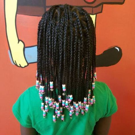 Shoulder Length Box Braids With Beads Short Box Braids Braid Styles For Girls Little Girl Braids