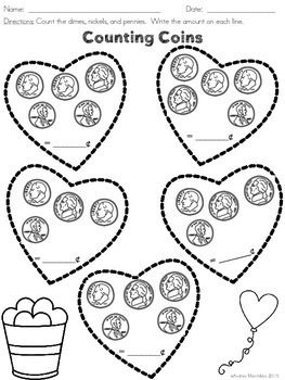These Valentine S Day Worksheets Are Great For Morning Work Fast Finishers Or Preschool Valentines Worksheets Valentine Math Kindergarten Valentines Writing
