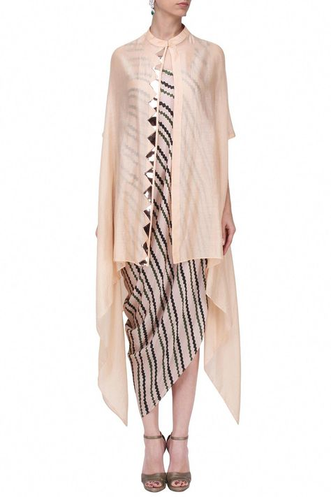 Roshini Chopra presents Peach and black draped dress with blush pink cape available only at Pernia's Pop Up Shop.