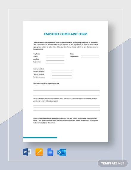 Employee Complaint Form Template Word Doc Apple Mac Pages Google Docs Employee Complaints Word Doc Templates
