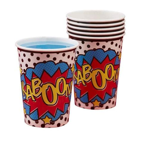 Comic Superhero Party Cups Superhero Birthday Party Comic Book Party Pack Of 8 Paper Cups With Images Superhero Comic Comics Superhero Party Comic Party