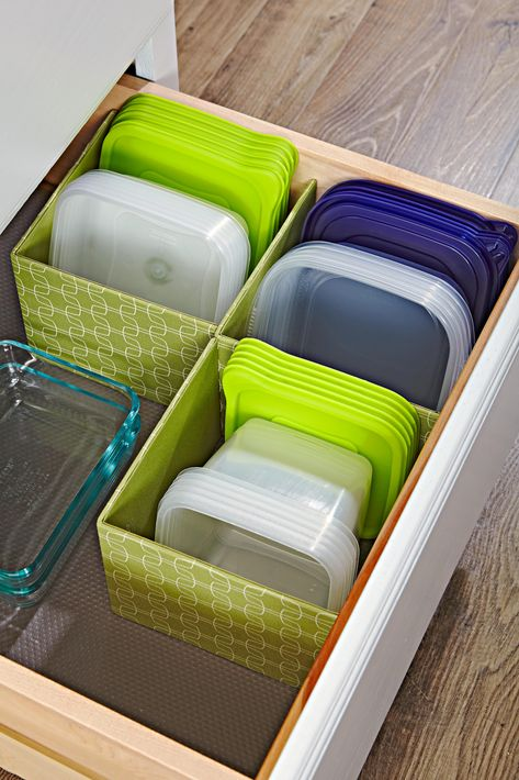 Without proper storage, you can end up with missing lids and mismatched food storage containers toppling from your cabinets. We rounded up our favorite kitchen storage hacks to solve your storage container woes. Check out these easy and inexpensive organization ideas. #kitchenorganization #howtoorganizetupperware #kitchenstorageideas #thehomeedit #bhg Organisation Hacks, Organization Ideas For The Home, Pantry Ideas, Diy Organization, Organising Hacks, Pantry Diy, Organizing Ideas For Kitchen, Dollar Store Organization, College Closet Organization