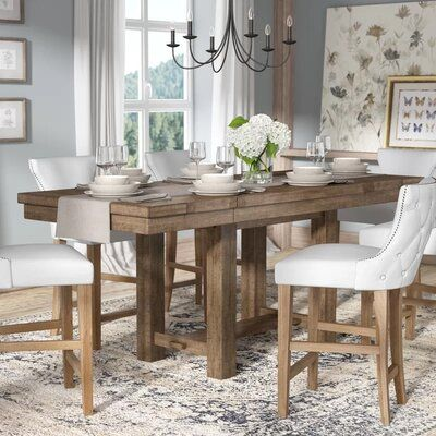 Laurel Foundry Modern Farmhouse Hillary Counter Height Extendable Dining Table Solid Wood Dining Table Shabby Chic Dining Room Dining Table
