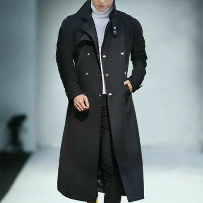 Men/'s Wool Lapel Trench Coat Long Sleeve Belts Jacket Overcoat Outwear Winter
