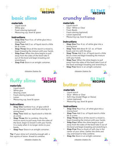 image relating to Slime Recipe Printable called Easy Slime: Recipe Playing cards Cambrie Easy slime recipe