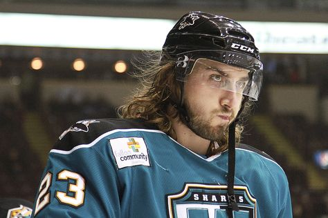 Worcester Sharks Pelech S Hockey Flow Is Never Disappointing Hockeyhair Hockey Hair Cool Hairstyles Riding Helmets