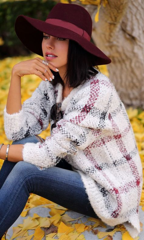 White Multi Plaid Jumper