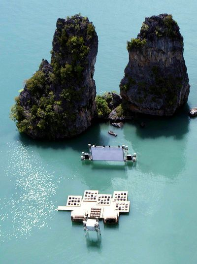 Floating cinema located off Kudu Island in Thailand.