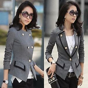 blazer low on sale at reasonable prices, buy FREE New Fashion 2014 Spring Korean Female Suit Jacket Women Double Breasted Short Coat Office Ladies Blazer Black/Grey Big size from mobile site on Aliexpress Now!