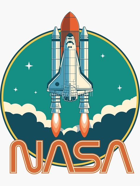 'NASA Vintage Space Shuttle Logo' Sticker by ericbracewell Vintage Space, Logo Vintage, Logo Sticker, Sticker Design, Space Shuttle, Space Telescope, Sgraffito, Retro Aesthetic, Helix Nebula