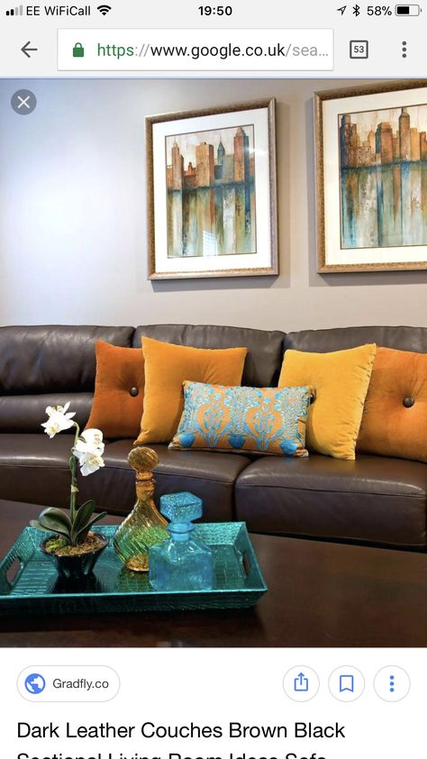 Amazing Leather Sofa With Colour Accents In 2019 Living Room Onthecornerstone Fun Painted Chair Ideas Images Onthecornerstoneorg