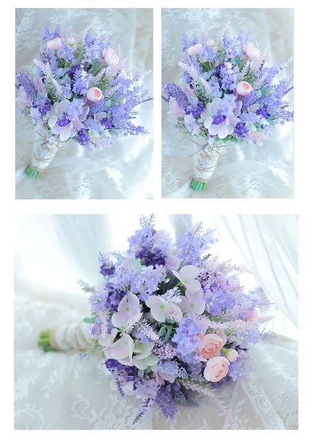 Us 59 40 45 Off Janevini Pink Purple Lavender Wedding Flowers Bridal Bo Artificial Wedding Bouquets Wedding Flowers Bridal Bouquets Cheap Wedding Bouquets