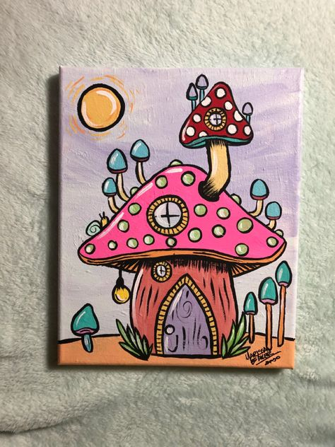 Mushroom house acrylic painting on canvas Available on Etsy Small Canvas Paintings, Easy Canvas Art, Small Canvas Art, Cute Paintings, Mini Canvas Art, Acrylic Painting Canvas, Ideas For Canvas Painting, Canvas Draw, Disney Canvas Art
