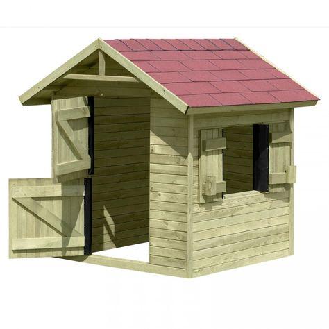 Der Bausatz Kinderspielhaus Emily besteht aus Holzelemten