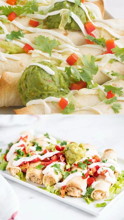 An easy and delicious dinner recipe that's perfect for busy weeknights! These baked chicken taquitos are crispy on the outside, creamy on the inside and full of fabulous flavor. #mexican #mexicanfood #mexicanrecipes #taquitos #chicken #chickendishes #chickenrecipes #baked #dinner #dinnerrecipes #video #videorecipe #foodvideos #recipevideo #iheartnaptime