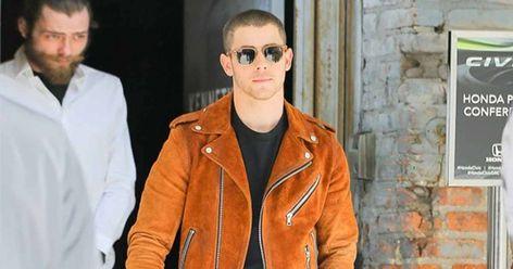 TrendHoop New Rock Brando Fringe Tan Men Motorcycle Biker Suede Real Leather Jacket