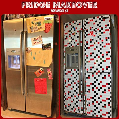 Tired of wiping fingerprints off your fridge? Check out this clever idea — cover your refrigerator with adhesive backsplash from Dollar Tree.