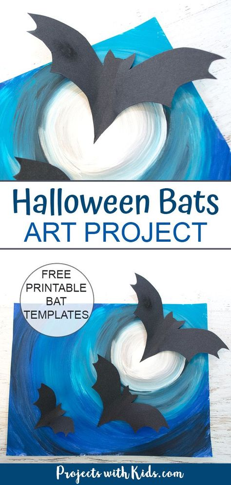 Create this awesomely spooky Halloween art with 3D paper bats. A fun and easy multi-media project that kids will love!  Free bat printables included. #projectswithkids #halloweencrafts #kidsart #batcrafts