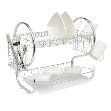 2 Tier Dish Drainer Drip Tray Dinner Plates Bowls Mug Holder Storage Rack Chrome