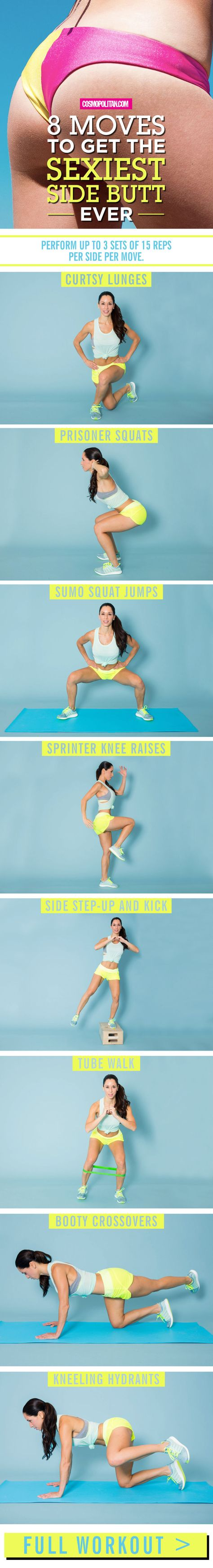 BUTT EXERCISES AND WORKOUT: Give your booty some sexy definition with the moves below, designed and demonstrated by fitness trainer, health coach, and fitness model Elizabeth Bracero. You'll want to complete up to three sets of 15 reps of each move on each side. Click through for the complete workout and for more fitness tips. And find more fitness ideas and free workouts you can do at home at Cosmopolitan.com.
