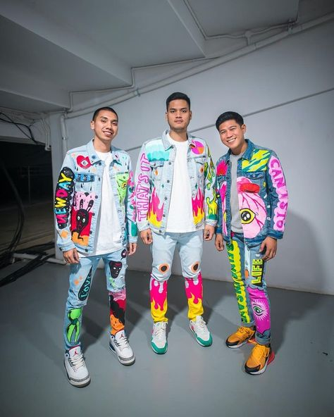 RAN, a famous Indonesian band with colorful denim outfit for 2018 Asian Games closing ceremony performance - made by an artist Muchlis Fahri/Muklay