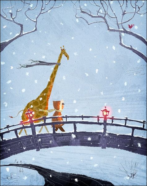 """""""Walking in the Snow""""    This one was a cover for a childrens magazine.    This is a limited edition print of an original painting. The"""
