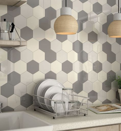 10x10cm Sample Of 12 4x10cm Hexagon Light Grey Wall Tiles Grey Wall Tiles Kitchen Wall Tiles Modern Kitchen Wall Tiles