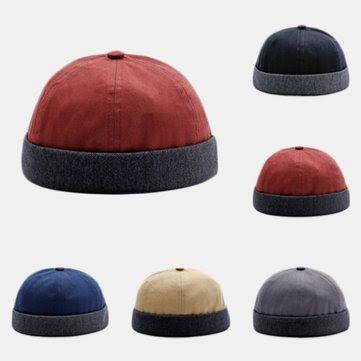 Mens Dome Rolled Cuff Kint Skullcap Sailor Cap Retro Brimless Summer Beanie Hat