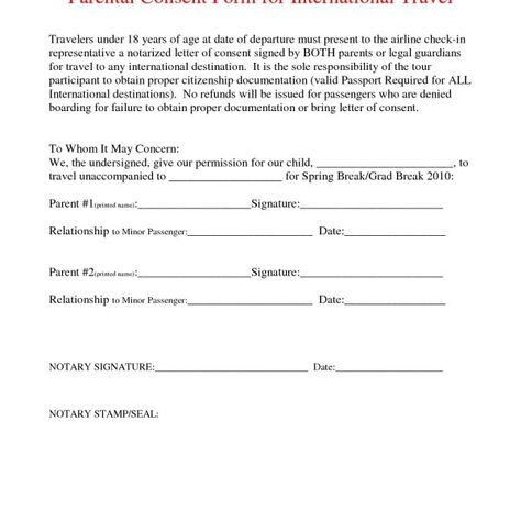 Letter Consent For Regarding Notarized Template Child Permission