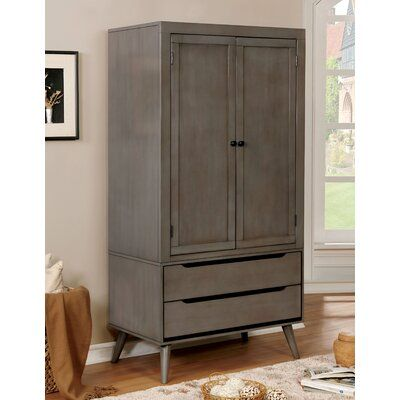 White Mid Century Modern Armoire Closet With Two Cabinets and Two Drawers